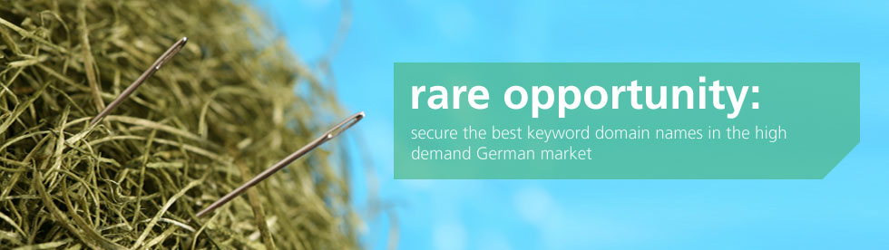 rare opportunity: secure the best keyword domain names in the high-demand German market.
